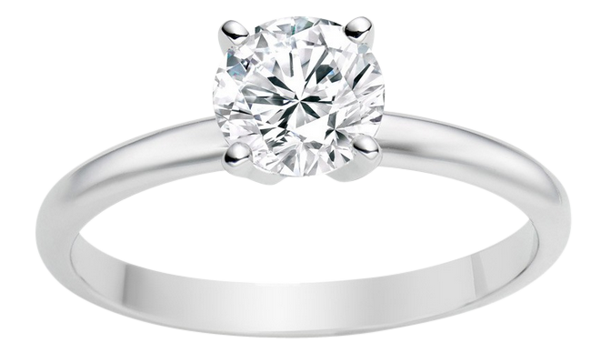 Engagement ring with round brilliant diamond