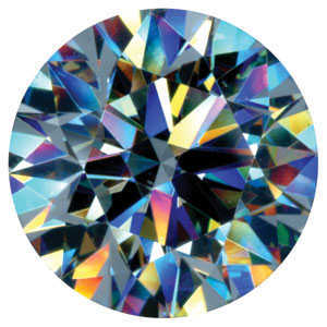 Round brilliant diamond showing fire