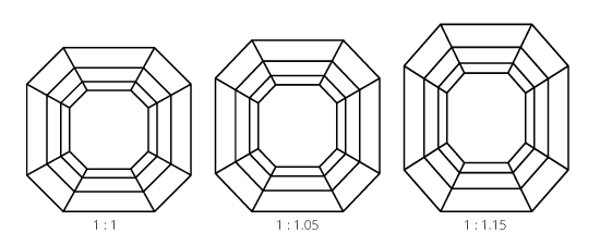 Image showing different length / width ratios for Asscher cut diamonds
