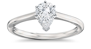 Pear shaped diamond engagement ring with solitaire setting