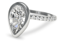 Pear shaped diamond engagement ring with bezel setting