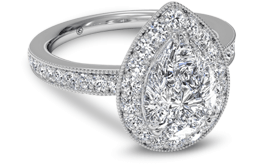 Pear shaped engagement ring with halo channel setting
