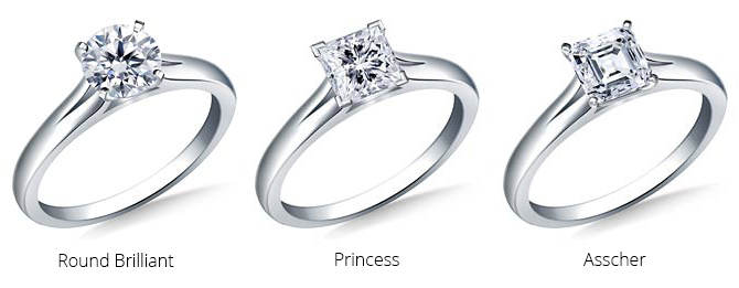 Round brilliant, Princess and asscher diamond rings