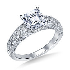 Asscher cut diamond engagement ring with vintage pave setting