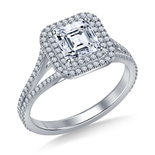 Asscher cut diamond engagement ring with double halo setting