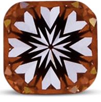 ASET image of cushion cut diamond showing hearts