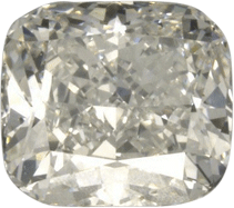 Cushion cut diamond with crushed ice effect