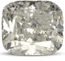 Crushed ice cushion cut diamond