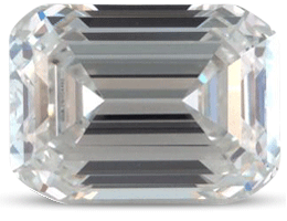 Emerald cut diamond with colour G