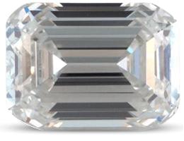Emerald cut diamond with colour G