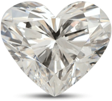 Heart shaped diamond with good symmetry