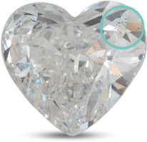 heart shaped diamond with visible inclusions