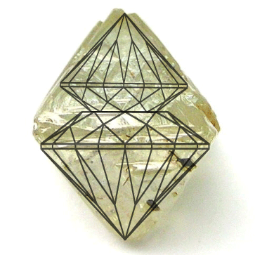 Diagram showing how a rough diamond can be cut to maximise carat weight but result in poorly cut stones