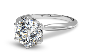 Round brilliant engagement ring with 6 prong solitaire setting