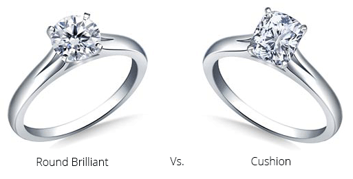 Round brilliant and cushion cut engagement rings