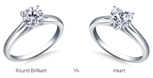 Image of a round brilliant and a shaped diamond