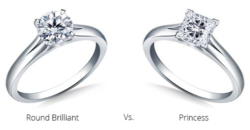 princess and round brilliant cut diamond engagement rings