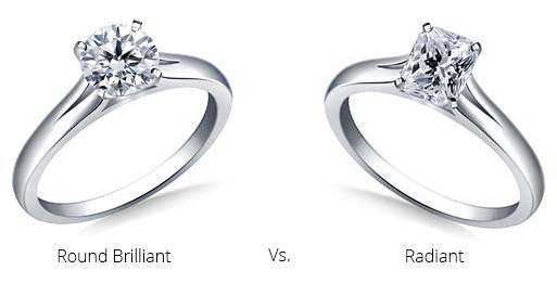 image of round briliant and radiant engagement ring