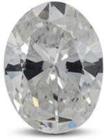 Oval shaped diamond with bow tie effect visible