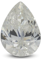 Pear diamond showing color at tip