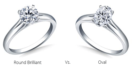 round brilliant and oval diamond engagement rings