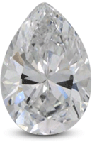 Pear shaped diamond with broad tip