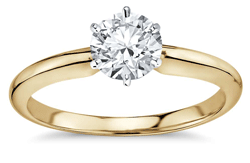 6 prong gold diamond solitaire engagement ring