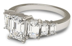 Engagement ring with 7 emerald cut diamonds