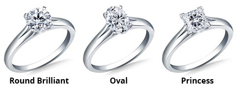 image showing round brilliant engagement ring, oval engagement ring and princess cut engagement ring