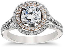 round halo platinum engagement ring with rose gold halo