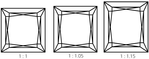 DIamond length width ratios