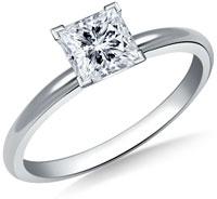 Princess cut diamond solitaire engagement ring