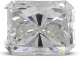 Radiant cut diamond with visible bow tiw