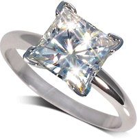 Princess cut diamond engagement ring sparkling brightly
