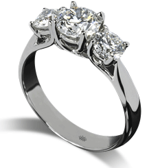 Trellis three stone white gold engagement ring