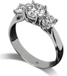 Trellis three stone white gold engagement ring