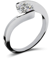Twisted tension diamond solitaire engagement ring in platinum setting
