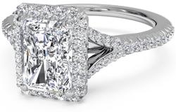 V Shank cushion platinum - Platinum engagement rings