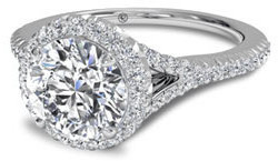 V shank pave halo engagement ring