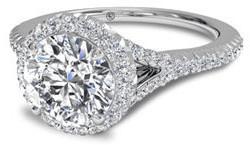 V shank pave halo engagement ring