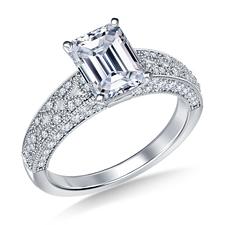 Vintage style millgrain emerald - Platinum engagement rings