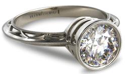 vintage platinum engagement ring with bezel