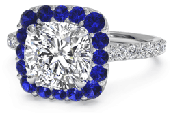 cushion sapphire halo - Platinum engagement rings
