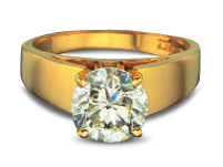 Gold diamond ring showing discoloration of diamond