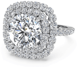 double halo diamond engagement ring in palladium
