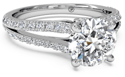 Split shank pave diamond solitaire engagement ring