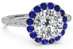 diamond engagement ring with sapphire halo