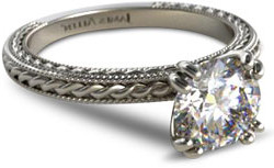 solitaire engagement ring with etched rope band