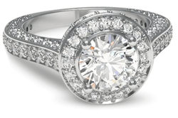 Pave halo engagement ring in palladium