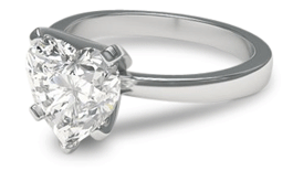 heart shaped engagement ring in platinum setting
